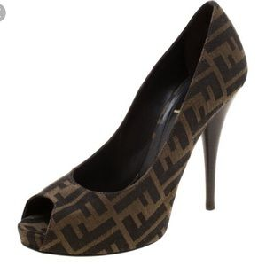 Fendi Women's Brown Monogram Peep Toe